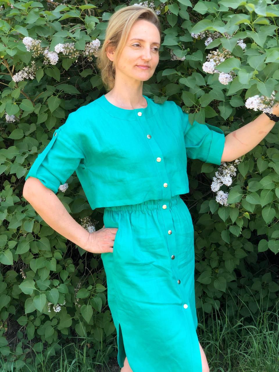 Вы любите лето? Платье из льна с органзой!